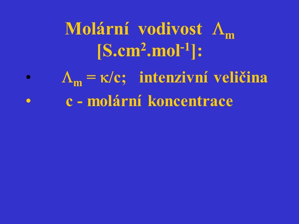 Molární vodivost m [S.cm2.mol-1]: